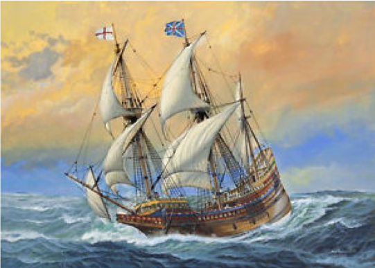 A painting of the Mayflower on choppy seas waters